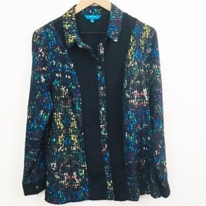 Derek Lam Stained Glass Mosaic Print Button Up L